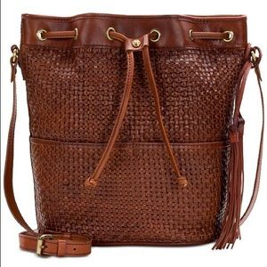 Woven Evora Drawstring Satchel in Brown Leather